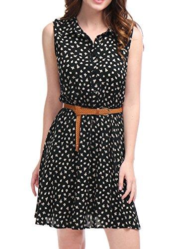 Allegra K Women's Summer Half Placket Above Knee Printed Belted Sleeveless Floral Dress Black M
