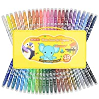 48 Colours Crayons for Toddlers, Shuttle Art Twistable Washable Crayons for Toddlers Kids Children and Students,Non-Toxic Gel Crayons Set with Foldable case,Ideal for Paper Glass and Mirrors