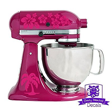 Overly Attached Decals Palm Tree and Flower Pattern Stand Mixer Front and Back Decal Set (Hot Pink)