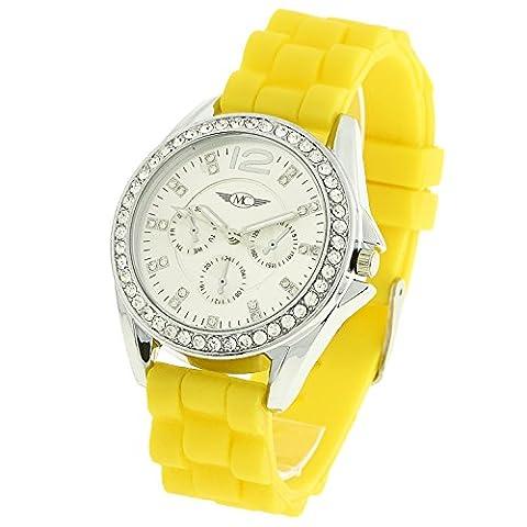 Montre–Concept Geschenkschatulle Damen Analog Armbanduhr Armband Silikon Gelb Zifferblatt rund Farbe Silber Boden Silber Strass mvs-2–00105
