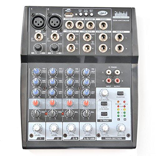 QSM Audio Mixer 8 Kanal channel mit MIC Preamps/USB/Audio/Phantom Premium (8 Kanal Power Mixer)