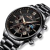 Herren Uhren Männer Militär Wasserdicht Chronograph Datum Schwarz Edelstahl Armbanduhr Mann Luxus Business Design Classic Analog Quartz Uhr (Model 3)