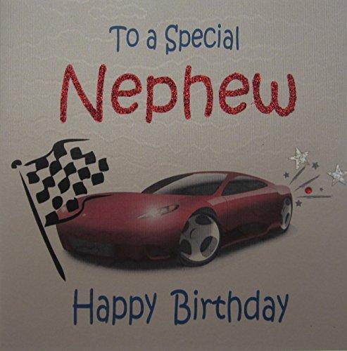 lückwunschkarte to a special Nephew handgefertigt Geburtstagskarte, Rennwagen ()