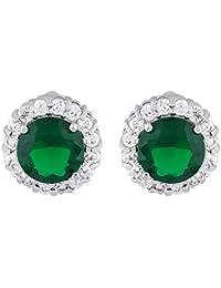 shazé Rhodium Round Green Emerald Traditional Wear Stud Earrings For Womens |Earrings For Women|Earrings For Women Stylish