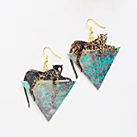 Orecchini giaguaro maculato - Rockabilly gioielli - Accessori Kitsch - Novità orecchini - Orecchini pantera triangoli - Orecchini leopardati