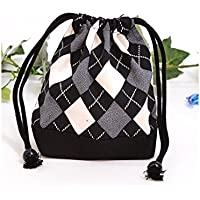 Preisvergleich für Drawstring Gokigen lunch (small size) gusset bag cup Argyle black made in Japan N3540400 (japan import)