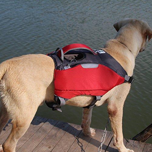 AIHOME 2 in 1 Schwimmweste Hund Hunderucksack Reisen Camping Wandern Haustier Schwimmweste Schwimmtraining mit Griff für Mittelgroße, Large Hunde