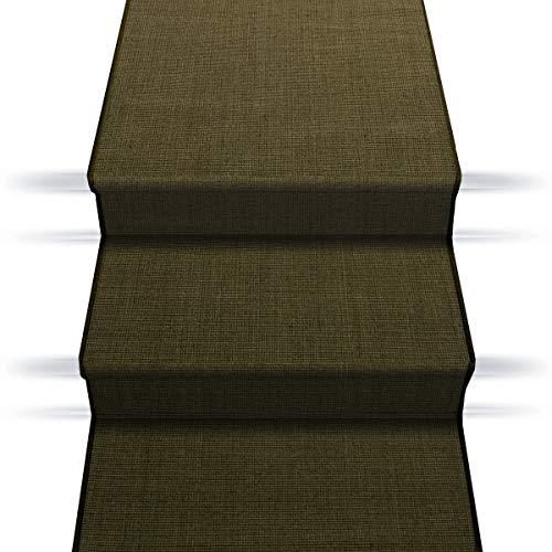 Sisal Treppenteppich/Treppenläufer | Viele Größen | natürlicher Läufer für Den durchlaufenden Treppenbelag | Qualitätsprodukt aus Deutschland (Tabak Braun 80x500 cm)