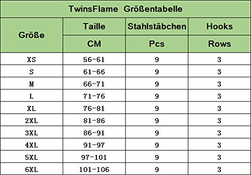 TWINSFLAME Damen Latex Waist Trainer Training Sport Fett Verbrennen Korsett Shaper Tailenmieder Schwarz mi Loch