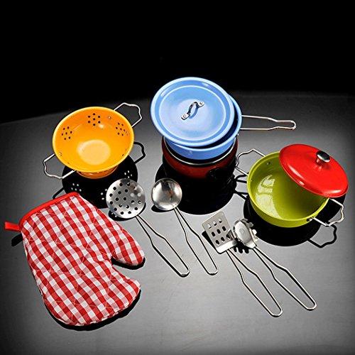 outgeek Kochen Spielzeug Set Edelstahl Töpfe Pfannen Küche Pretend Play Spielzeug Kochgeschirr Spielzeug Set (Topf Und Pfanne Play Set)