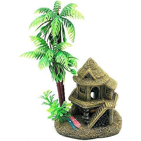Sikete Acuarios Decoraciones Castillo cocotero adornos para el tanque de pescados
