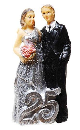 Silberpaar Silberhochzeitspaar 25.Hochzeitstag Silberne Hochzeit Silbernes Hochzeitspaar Silbernes Brautpaar Tischschmuck Hochzeitsschmuck Hochzeitsdeko Hochzeitsgastgeschenk Tortenfigur Tortenaufsatz