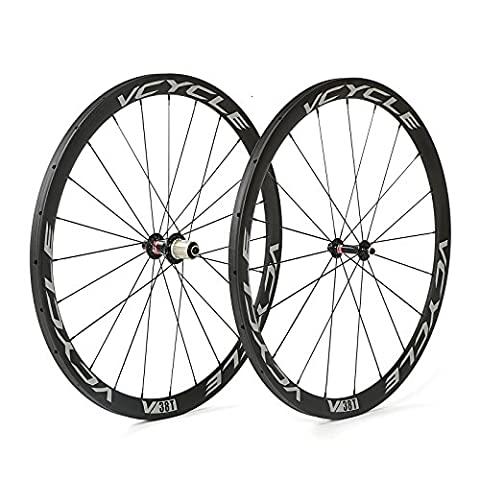 VCYCLE 700C Racing Road Bike Carbon Wheelset Tubular 38mm Shimano 8/9/10/11 Speed available Only 1170g - 130 Mm Mozzo Posteriore