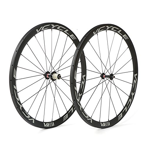 VCYCLE 700C Carbon Bike Wheels 38mm Tubular UD Ultra Lightweight Shimano or Sram 8 / 9 / 10 / 11 Speeds