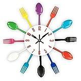 TimeLike - Orologio adesivo 3D da cucina, effetto specchiato, con motivo forchette e cucchiai, rimovibile, da arredamento 32*32*4CM Colorato