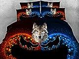 LifeisPerfect JF-331 Rojo Fuego y Hielo Hojas Azules Wild Animal Lobo Imprimir Conjuntos de...