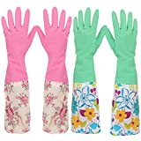 kilofly 2Paar langer Stulpe 2158Gartenschlauch Abwaschen Reinigung Haushalt Latex Handschuhe