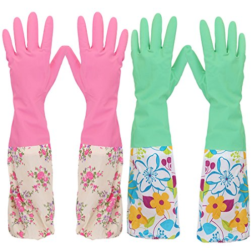 kilofly 2Paar langer Stulpe 2158Gartenschlauch Abwaschen Reinigung Haushalt Latex Handschuhe (Heavy-duty-haushalts-handschuhe)