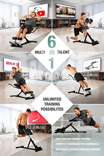 Sportstech-HealthFit-in-2019-6in1-Back-Ab-Trainer-incl-Dip-Bar-for-home-use-ergonomically-height-adjustable-Locking-Easy-Folding-System-foldable-Hyperextension-Home-Trainer-BRT150