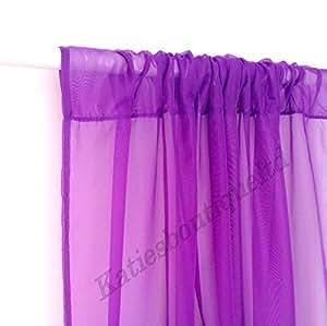 """Voile-Netzvorhang, uni, Schlauchaufhängung,viele Farben und Größen, violett, 55"""" x 63"""" (140cm x 160cm)"""