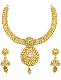 Aadita Traditional Ethnic Pearl Studded Collar Necklace Set With Earrings For Women And Girls