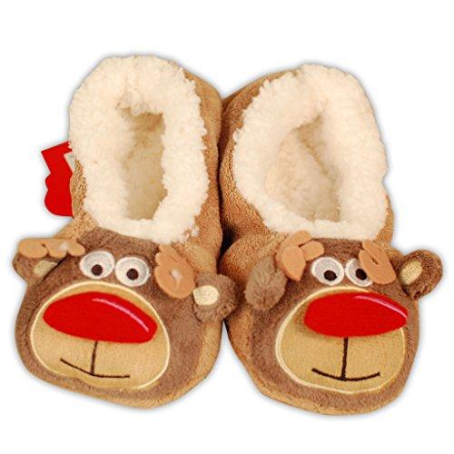 adam & eesa Girls Co-Zees Festive Slippers 3D Fairisle Christmas Slipper Socks in 5 Designs - UK 9-12 12.5-3.5