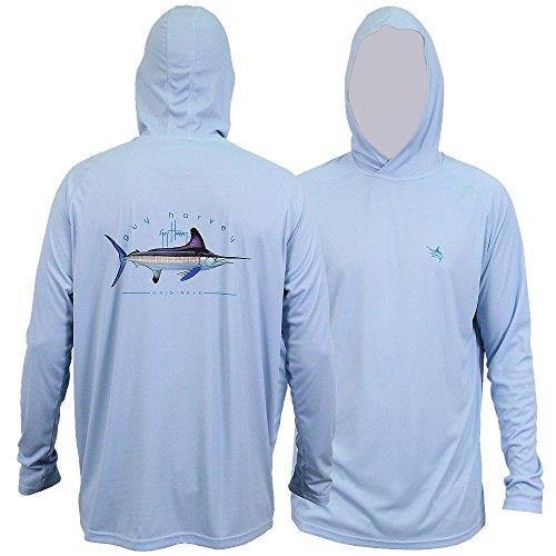 Guy Harvey Clipper Kapuze Pro UVX Performance Long Sleeve Shirt Größe L sky (Guy Harvey-t-shirt)