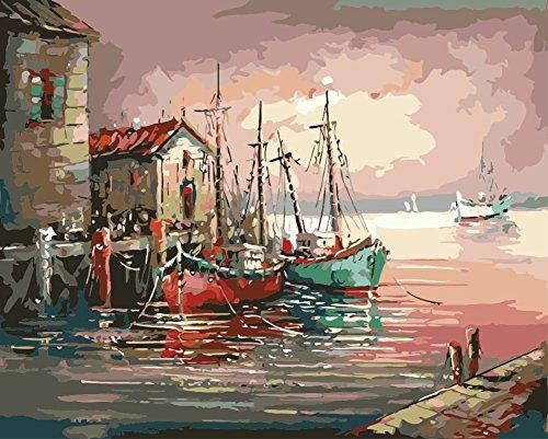 obella Malen nach Zahlen Kits || Harbor Chalet Boot 50x 40cm || Malen nach Zahlen, DIGITAL Ölgemälde, Frameless (Kalb Boot Weit)