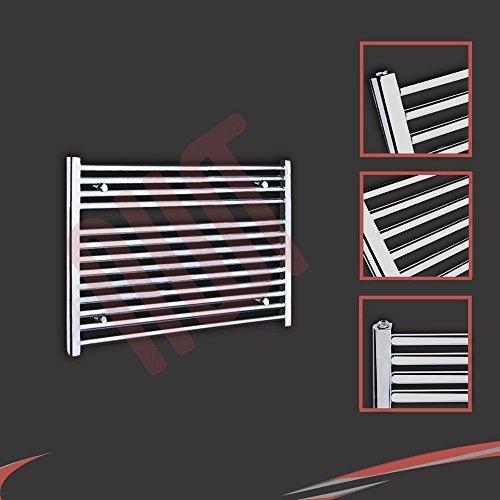 900mm (w) x 600mm (h) - Radiateur sèche-serviettes plat chromé Barre Horizontale Diamètre: 22mm, Bar Modèle: 4 + 9