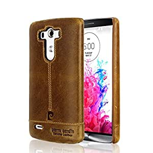 Pierre Cardin 100% Genuine Real Leather Back Case Cover For LG G3 - Brown