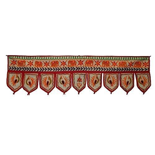 arazzo-decorativo-telaio-della-porta-9-lamelle-cotone-verde-rosso-arancione-fiori-mano-dopera-dindia