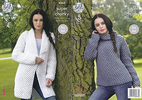King Cole Ladies Super Chunky Knitting Pattern Easy Knit Jacket & Polo Neck Sweater (4363)