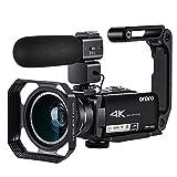 ORDRO Videokamera - 4K Ultra HD Camcorder 10x Opt. Zoom Video Kamera 3.1 Zoll IPS Touchscreen, UHD 4k/24fps, Integrierte WiFi, mit Extra Mikrofon, 2-in-1 Objektiv, Perfekt für Familien Amateur