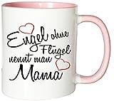 Mister Merchandise Kaffeebecher Tasse Engel ohne Flügel nennt man Mama Mama mutter mutti mami Kind Muttertag Teetasse Becher Weiß-Rosa