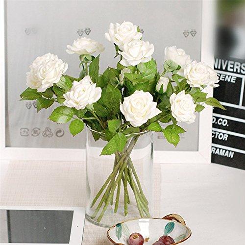 ZTTLOL 10 Teile/los Wahre Touch Latex Feuchtigkeitscreme Rose Künstliche Blumen Hochzeit Bouquet Party Wohnkultur Blume Design Party Supplies - White Rose Rose Feuchtigkeitscreme