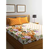 PORTICO NEW YORK STELLAR HOME USA ESTELLA PRINTED COTTON MULTICOLOR DOUBLE BEDSHEET WITH PILLOW COVER