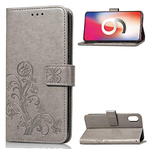 fitmore Compatible iPhoneXr 6.1 inch Case Flip Cover PU Leather Protective Bumper Case Replacement for iPhoneXr 6.1 inch - Grey -
