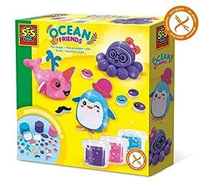 SES Creative Plastilina - Amigos del océano - Kits de Manualidades para niños (Glitter Modelling Clay Set, Arcilla de modelar, Niño/niña, 3 año(s), Niños, Azul, Rosa, Púrpura)