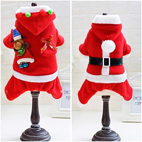 Ruiqas Wintermantel-Haustier-Hundekleidung Weihnachtswelpen-mit Kapuze Kleidung Weihnachtsmann-Nette Weihnachtsausstattung (Size : Men's Belt S)
