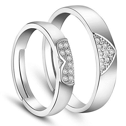 SWEETIEE anillos de mujer plata de ley 925Pareja de Micro Pave Zirconia Corazón Platinum 17-19mm (ajustable)