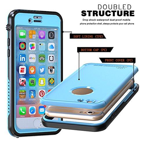 iPhone 6s 4.7 inch Wasserfeste Hülle, Lifeepro IP68 Zertifiziert Wasserdicht Ultra Dünn Outdoor Handy Hülle Stoßfest Staubdicht Staubdicht Kratzfestes Gehäuse Full Body Robuste Schutzhülle mit Display Himmelblau
