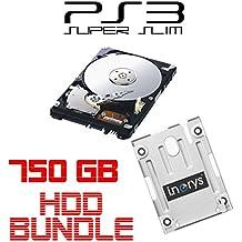 i.norys 750GB Festplatte für SONY PS3 Super Slim (12GB, CECH-400x) + Einbaurahmen + Handbuch/Manual + Positionsschrauben