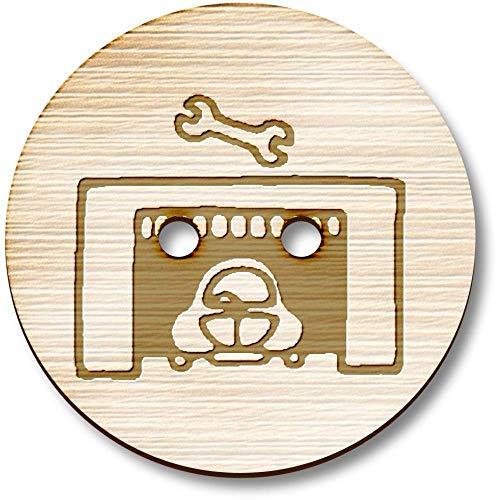 Azeeda 8 x 23mm 'Autogarage' Runde Holz Knopfe (BT00076361)
