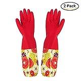 Guantes limpieza lavado mano proteger largos guantes de látex goma cocina herramienta de limpieza antibacteriano con hebilla colgante Gran flor roja - L