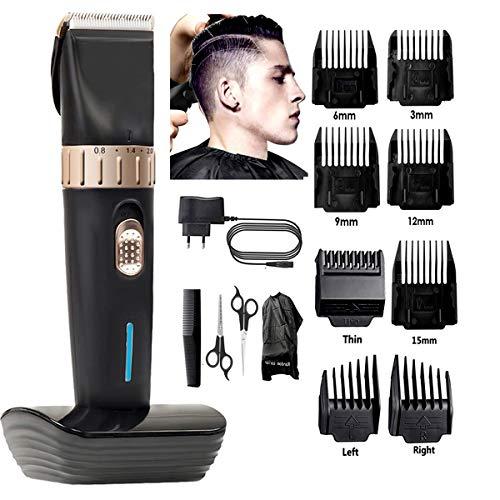 Tondeuse cheveux homme, tondeuse cheveux professionnelle sans fil de précision sans fil coupe-poils Set 8 guides peignes, tondeuse pour hommes, femmes, enfants, coiffeurs et stylistes