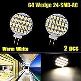 2 pezzi bianco caldo 3500K AC / DC 12V G4 24 LED SMD a leggere posto barca marina ci illuminano ( Colore della luce : Bianco caldo )