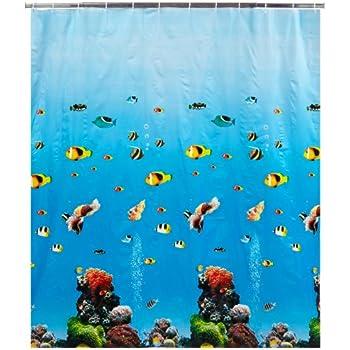 Textil Duschvorhang 180x180cm Delphine Meeresfisch Meer Strand mit Haken Ringe
