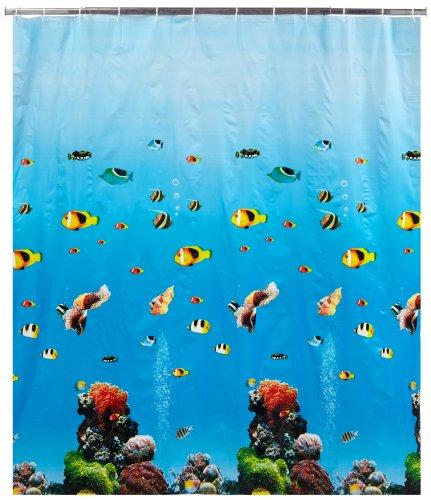 WENKO 19122100 Duschvorhang Ocean - wasserdicht, pflegeleicht, Kunststoff - PEVA, Mehrfarbig (Duschvorhang Fische)