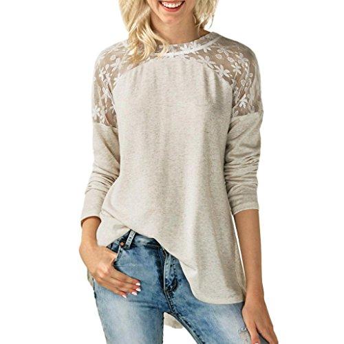 Spitze Langarm Shirt Damen, Sunday Womens O Neck Spitze Langarm Bowknot Blume Bcak Bluse Tops T-Shirt Neues Design Frühling Langarmshirt (S-XXL) (Beige, L) (Spitze Tunika Beige)