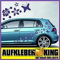 """Stickers Hibiscus """"Fiori e farfalle Set 30 pezzi"""" adesivo NB-0169-30-IT blu scuro"""
